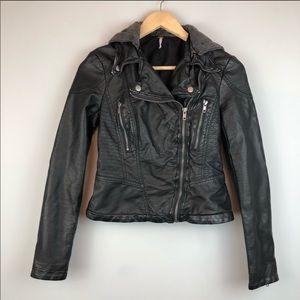 Free People vegan distressed leather Moto jacket
